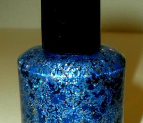 Nail Polish - COLORADO NIGHTS - Holographic Glitter - Blue Nail Polish - .5 oz Full Sized Bottle