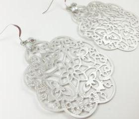 Sterling Silver Earrings Silver Filigree Boho Chic Large Statement Jewelry Metal
