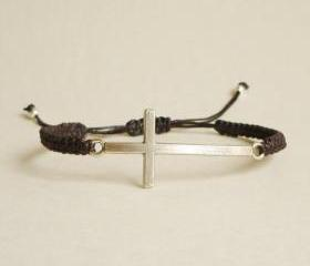 Silver Side Cross Wax Cord Bracelet with Adjustable Style - Gift for Him - Gift under 15 