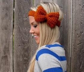 Burnt Orange Bow Headband with Natural Vegan Coconut Shell Buttons - Adjustable