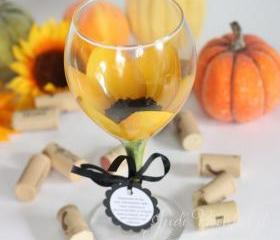 Sunflower painted wine glass that is dishwasher safe
