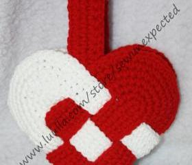 Crocheted Woven Heart Basket
