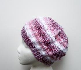 Crochet Beanie Tam Hat with Bobbles in Pink Stripes, ready to ship.