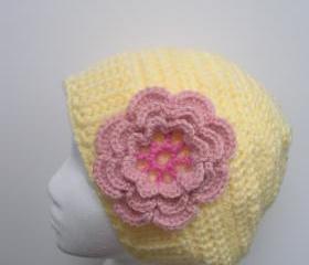 Crochet Slouch Tam Hat in Lemon Yellow with pink flower applique, ready to ship.