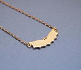 Cute Bat necklace in matte gold
