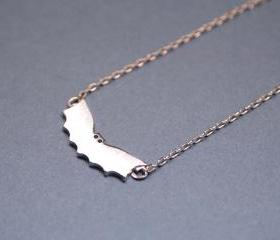 Cute Bat necklace in matte silver