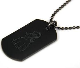 Mario Party Princess Peach Black coated Stainless Steel Dog Tag Necklace