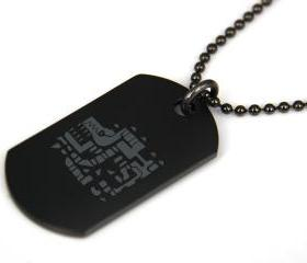 Monster Hunter Tigrex Black coated Stainless Steel Dog Tag Necklace