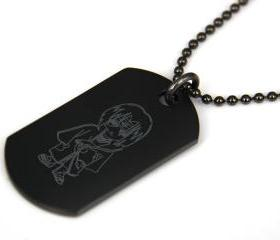 Naruto Uchiha Itachi Black coated Stainless Steel Dog Tag Necklace