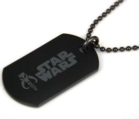 Star Wars BOBA FETT Skull Black coated Stainless Steel Dog Tag Necklace