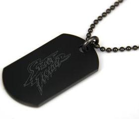 Street Fighter Black coated Stainless Steel Dog Tag Necklace