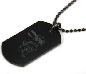 Street Fighter Ryu Black coated Stainless Steel Dog Tag Necklace