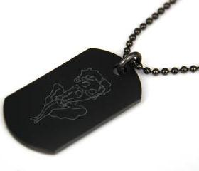 Betty Boop Black coated Stainless Steel Dog Tag Necklace