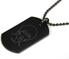 Bruce Lee Black coated Stainless Steel Dog Tag Necklace