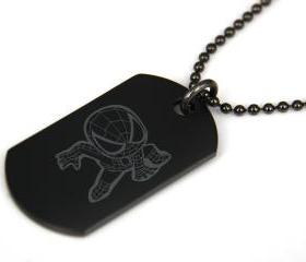 Cute Spiderman Black coated Stainless Steel Dog Tag Necklace