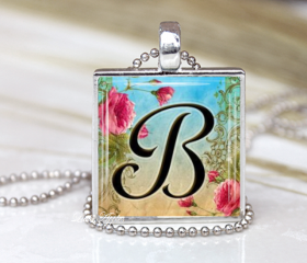 Personalized Letters Alphabet Initial A to Z Pink Roses Glass Necklace or Keychain