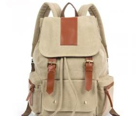 Fashion Cream retro with leather Backpack