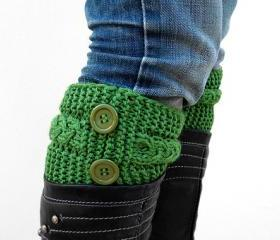Knit Green Boot Toppers, Knit Green Boot Cuffs,with Green Button, Accessories