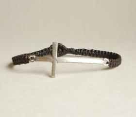 Silver Side Cross Bracelet - Tibetan Silver Side Cross woven with Dark Brown Wax Cord Bracelet - Men Jewelry - Unisex - Gift under 15 - Friendship bracelet