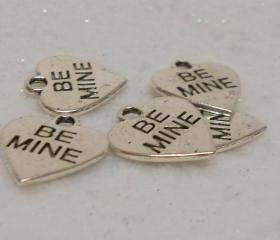 Valentine Heart Charm Be Mine Charm Conversation Heart Charm Lot of 6