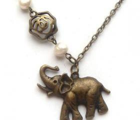 Antiqued Brass Elephant Flower Fresh Water Pearl Necklace
