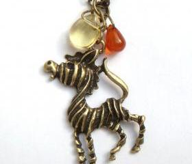 Antiqued Brass Zebra Red Agate Quartz Necklace