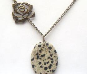 Antiqued Brass Rose Dalmatian Necklace