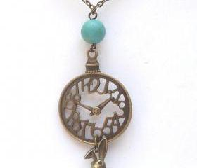 Antiqued Brass Clock Bunny Green Turquoise Necklace