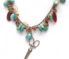 Antiqued Brass Scissor Button Turquoise Agate Gold Sand Stone Necklace