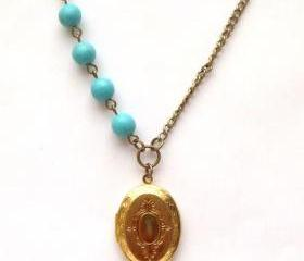 Antiqued Brass Locket Green Turquoise Necklace