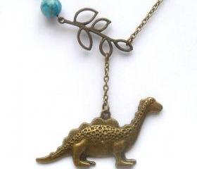 Antiqued Brass Leaf Dinosaur Green Turquoise Necklace