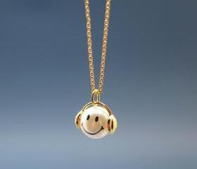 Music is my life smile man charm pendant Necklace in gold