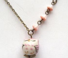 Antique Brass Flower Porcelain Owl Necklace