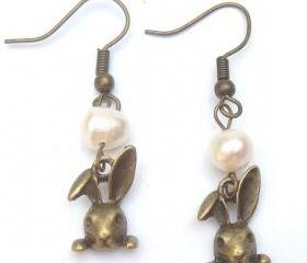 Antiqued Brass Rabbit White Pearl Earrings