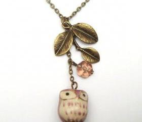 Antiqued Brass Leaf Czech Glass Flower Porcelain Owl Necklace