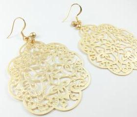 Gold Filigree Earrings Boho Chic Large Statement Jewelry Bold Metal