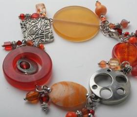 Red and orange charm bracelet