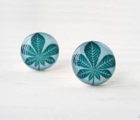 Teal blue botanical earrings posts, Leaf earrings, Chestnut Tree Leaf