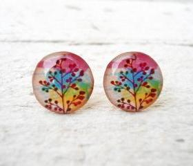 Ear Posts Rainbow Branch in Pink Yellow Green Blue Earrings, Mother's Day