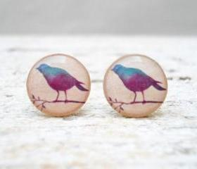 Little Lilac Bird Ear Studs Earrings Posts Peach Blue Purple, Small