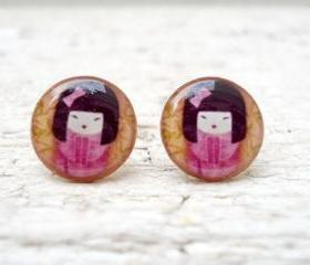 Chinese girl earrings studs posts,Traditional Art jewelry, Pink Brown