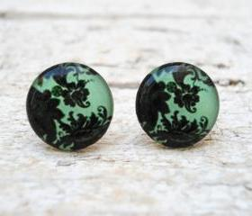 Mint Green Pattern Earrings, Small Ear Studs Posts, Floral