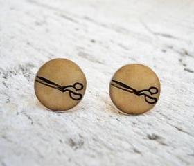 Small ear posts, Ivory Vintage Scissors Earrings , Super Sweet Gift