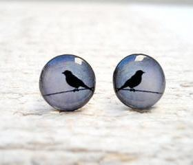 Bird Earrings in Grey Blue Black Ear Studs, Small Bird Ear Posts Earrings, Gift Bridesmaids