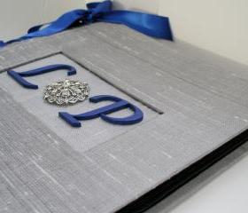 Wedding Guestbook or Album - Monogram & Rhinestone Brooch
