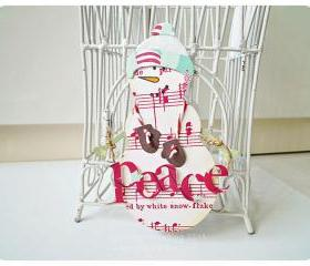 Red and white Snowman Card