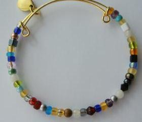 Expandable Bangle Bracelet - Eclectic Mixed Glass, Crystal, Gemstone, Metal and Wood Beads