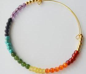 Expandable Bangle Bracelet-Rainbow Chakra Bracelet