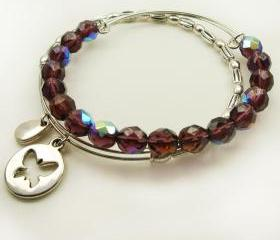 Expandable Bangle Bracelet - Amethyst Shimmer Glass Crystal Beaded Bangle Bracelet
