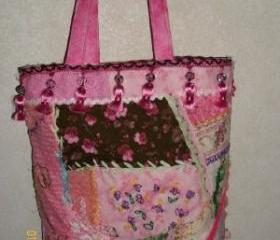 Pink Cottage Chic Crazy Patch Tote